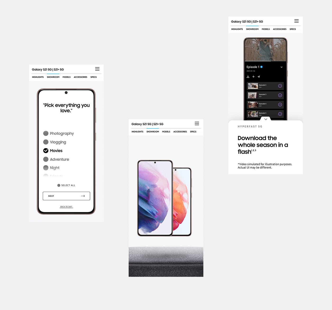 copywriting  digital agency galaxy s21 samsung galaxy video web/mobile Website build