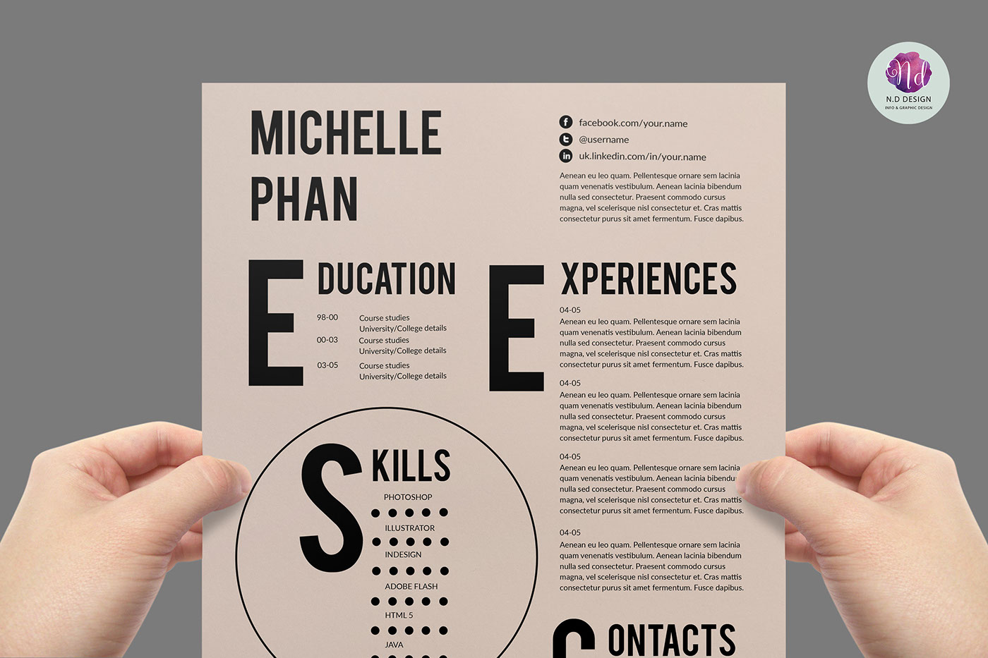 modern resume template on behance