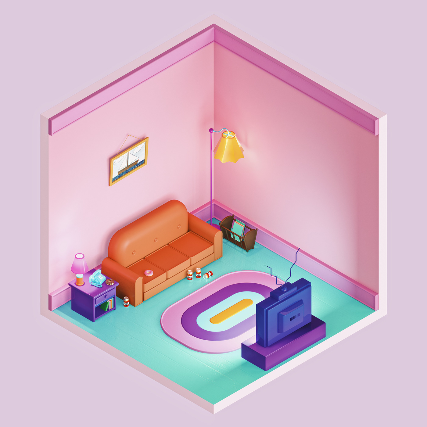 Image may contain: bed, pink and house