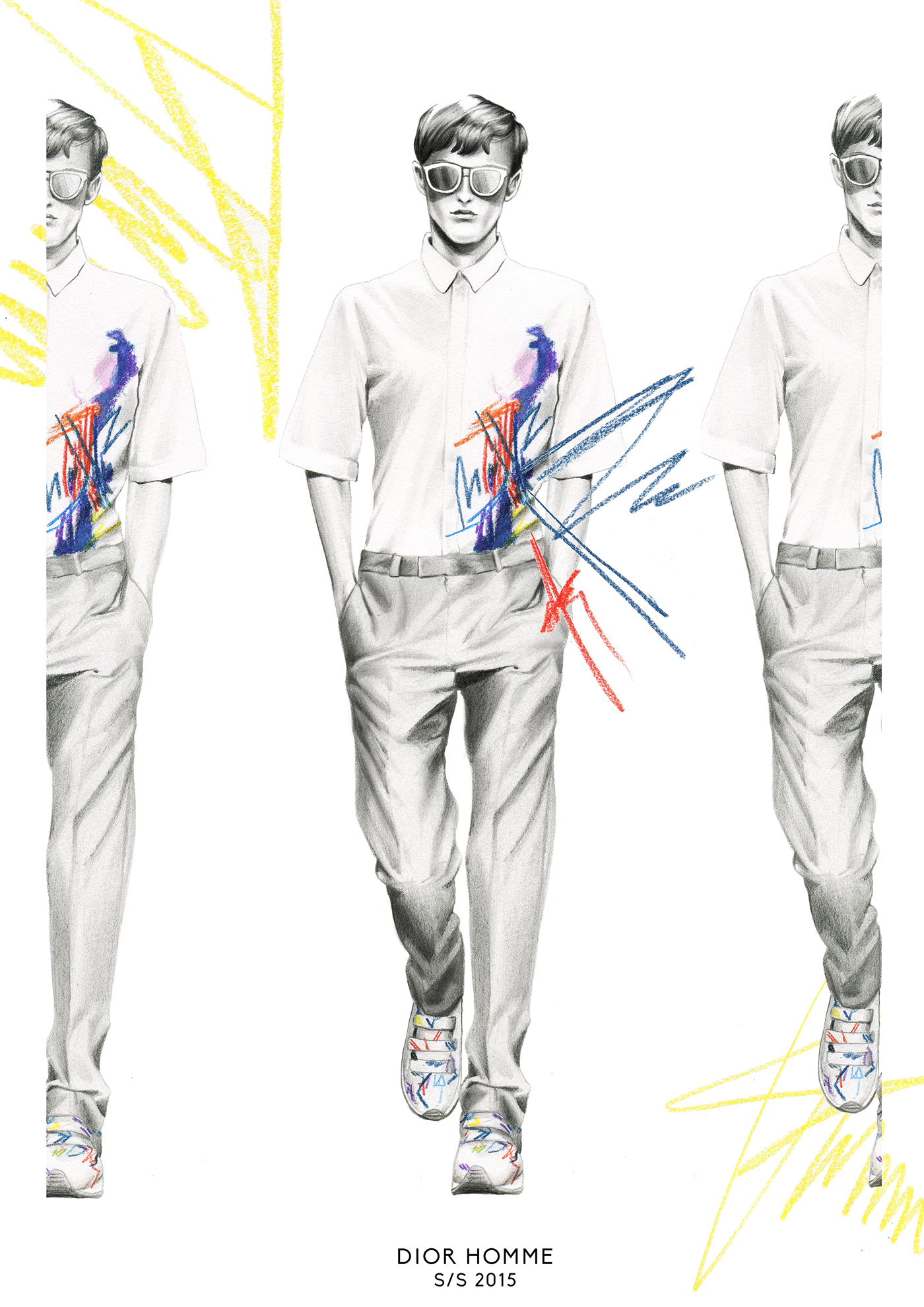 hautecouture fashionweek catwalk runway JeanPaulGaultier VERSACE Dior Menswear portrait fashionillustration sketch art