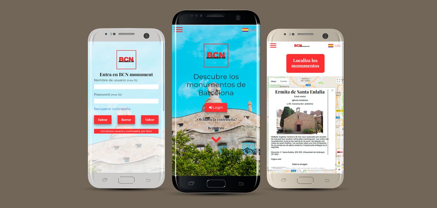 BCN monument, distintas página en un smartphone