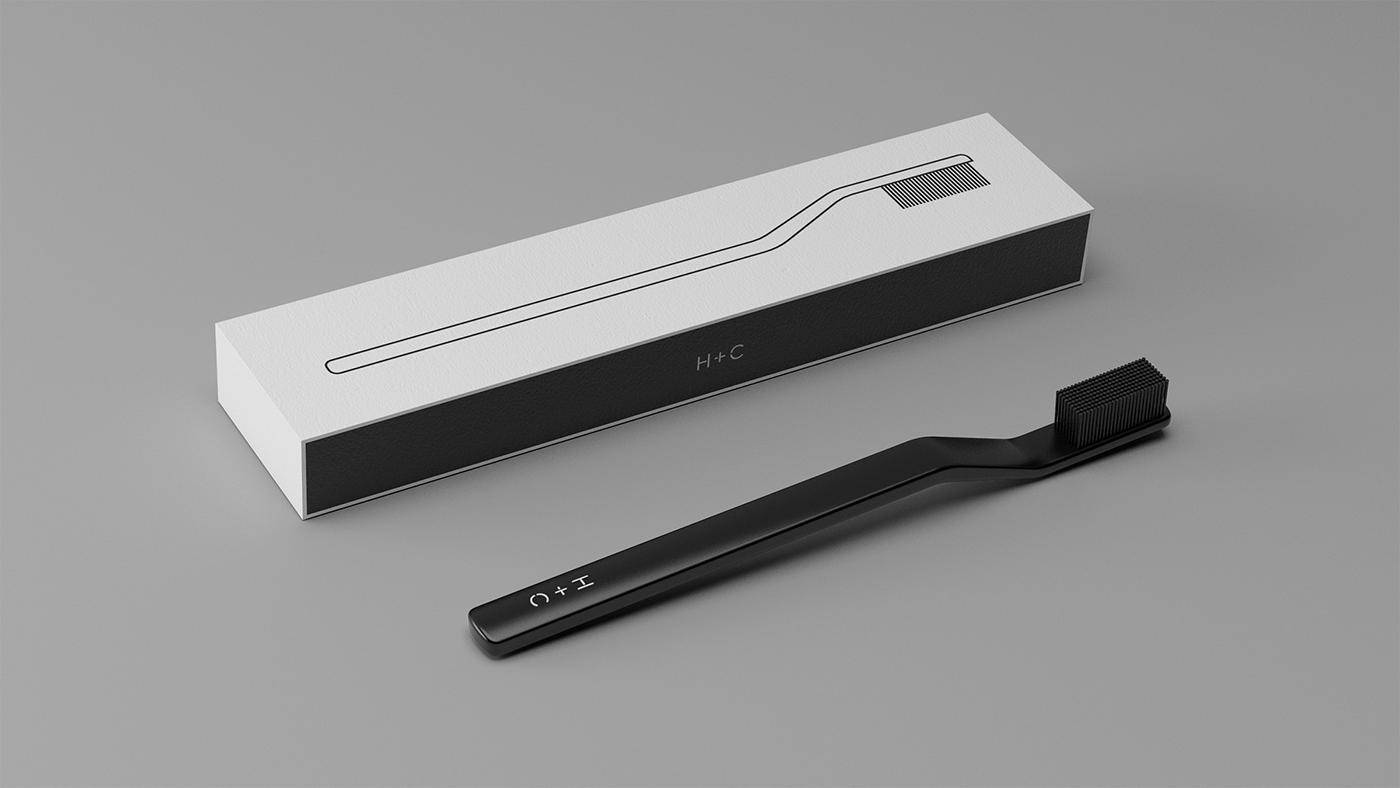 design toothbrush minimal modern industrial design  less is more Blacked