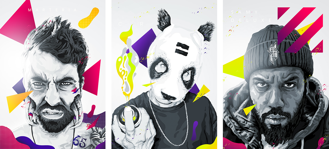 vector Vector Illustration hip hop portrait urban art music Urban Drawing  david bowie Macklemore