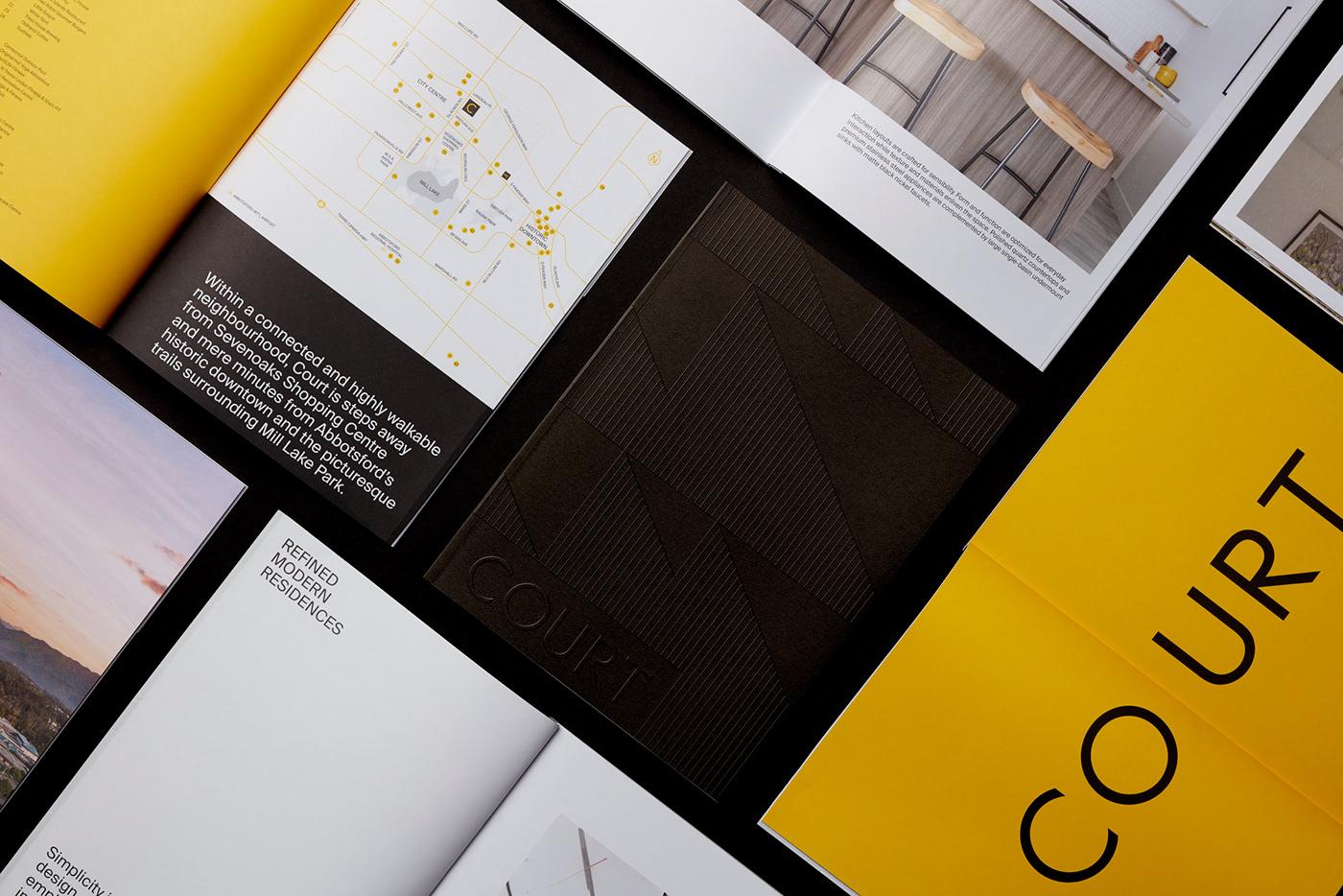print brochure emboss typography   Layout print production real estate property development branding  Condo