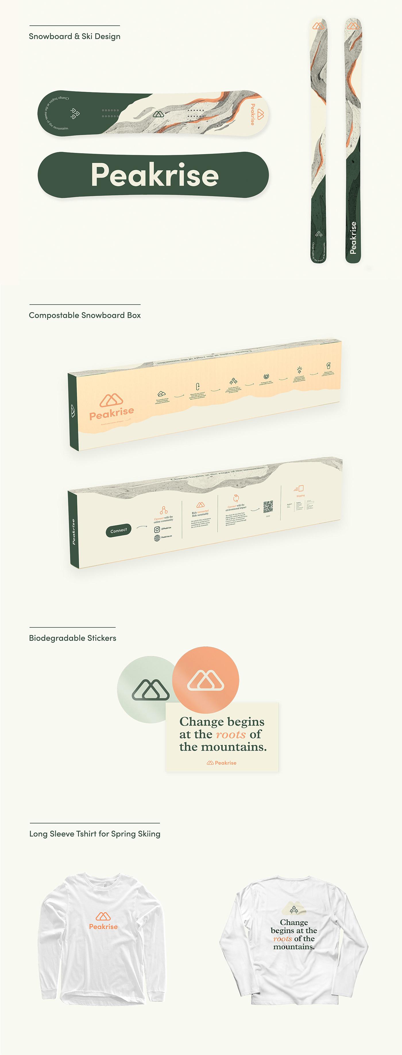 brand identity branding  environment graphic design  mountains skiing snow Snowboarding Sustainability trees