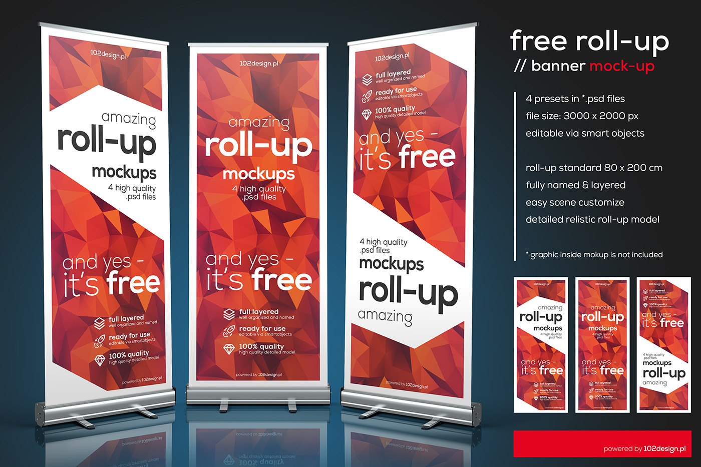Free PSD - Roll-up mockup on Behance