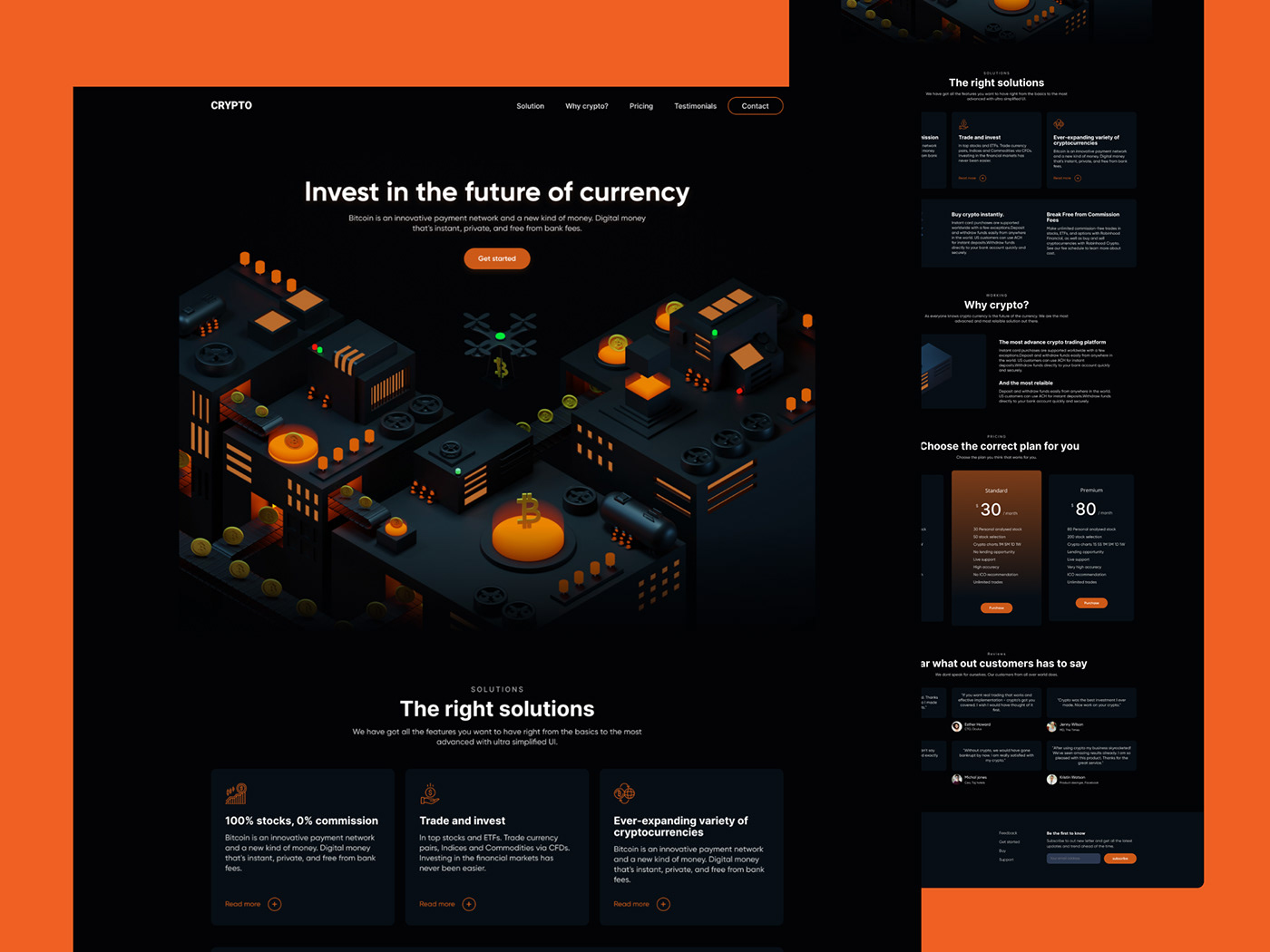 3d design 3D illustration bitcoin crypto currency Forex landing page trading ui design Web Design