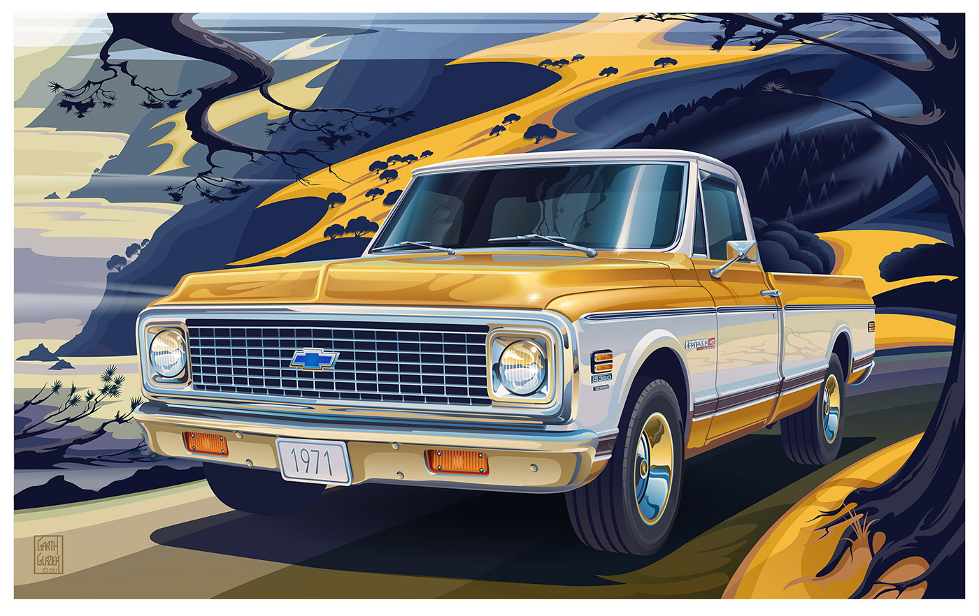 c10 chevrolet 1971 poster truck fleetside pickup chevy 100 anniversary posters cheyenne 2wd garth glazier trucks digital prints series artwork