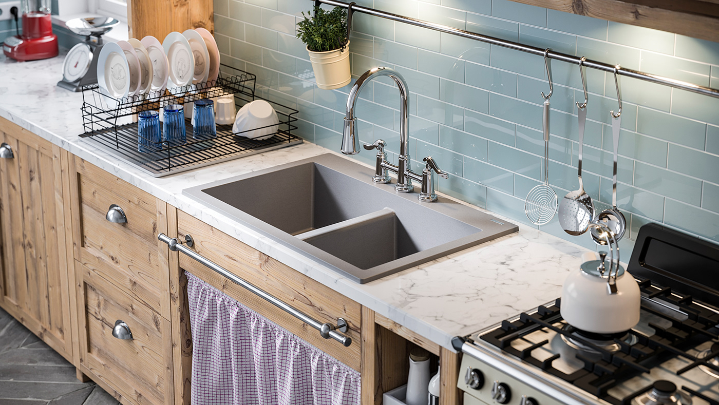 Kitchen sinks and faucets - full CGI. on Behance