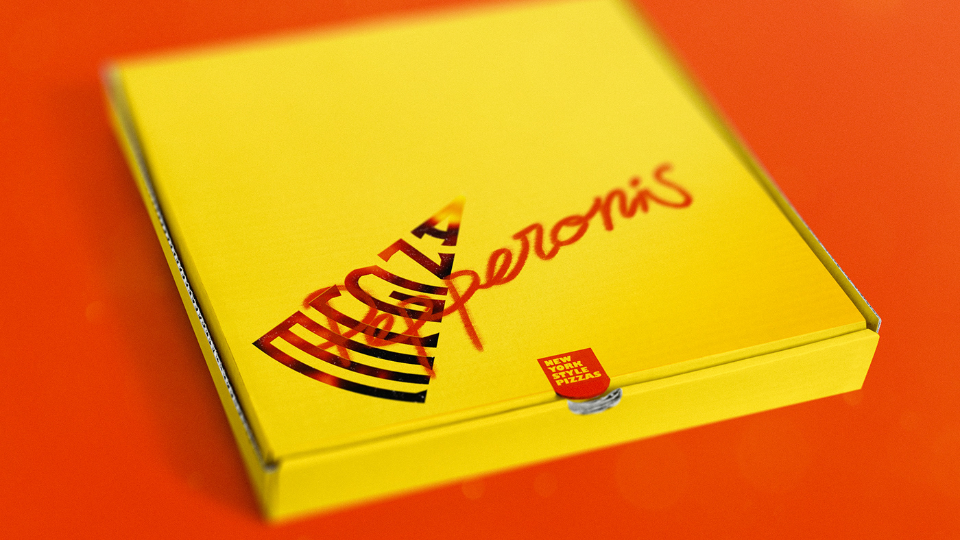 angle Pizza typography   3D design logo brand Packaging streetfood identity