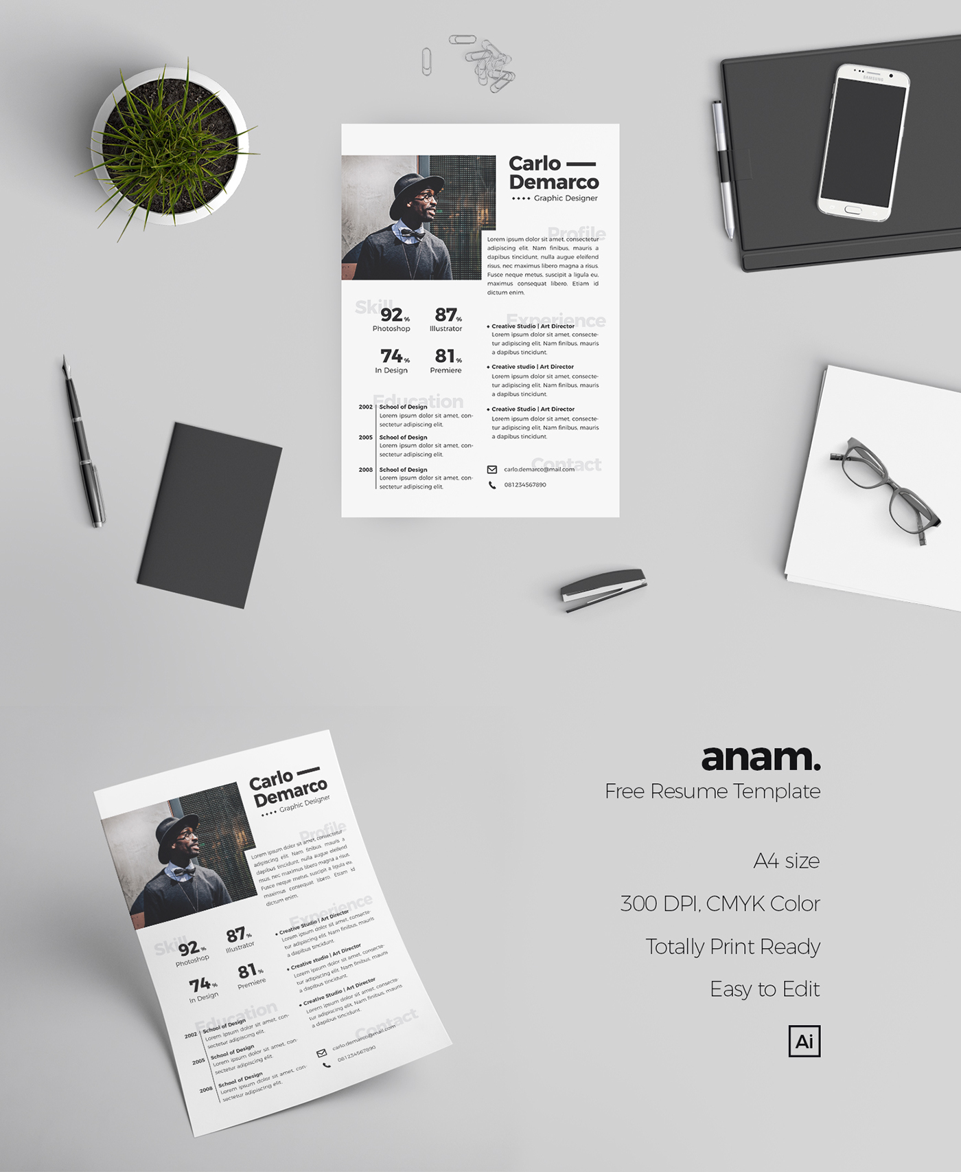 Resume template a4 minimalist modern design graphic design  anam adobe illustrator Adobe Photoshop