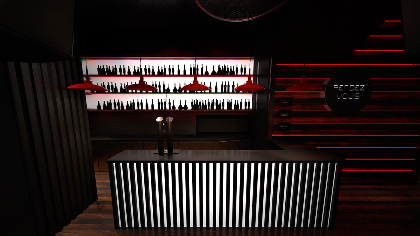 rock club modern iinterior red led cinema 4d DANCE   light black porto Rockstar