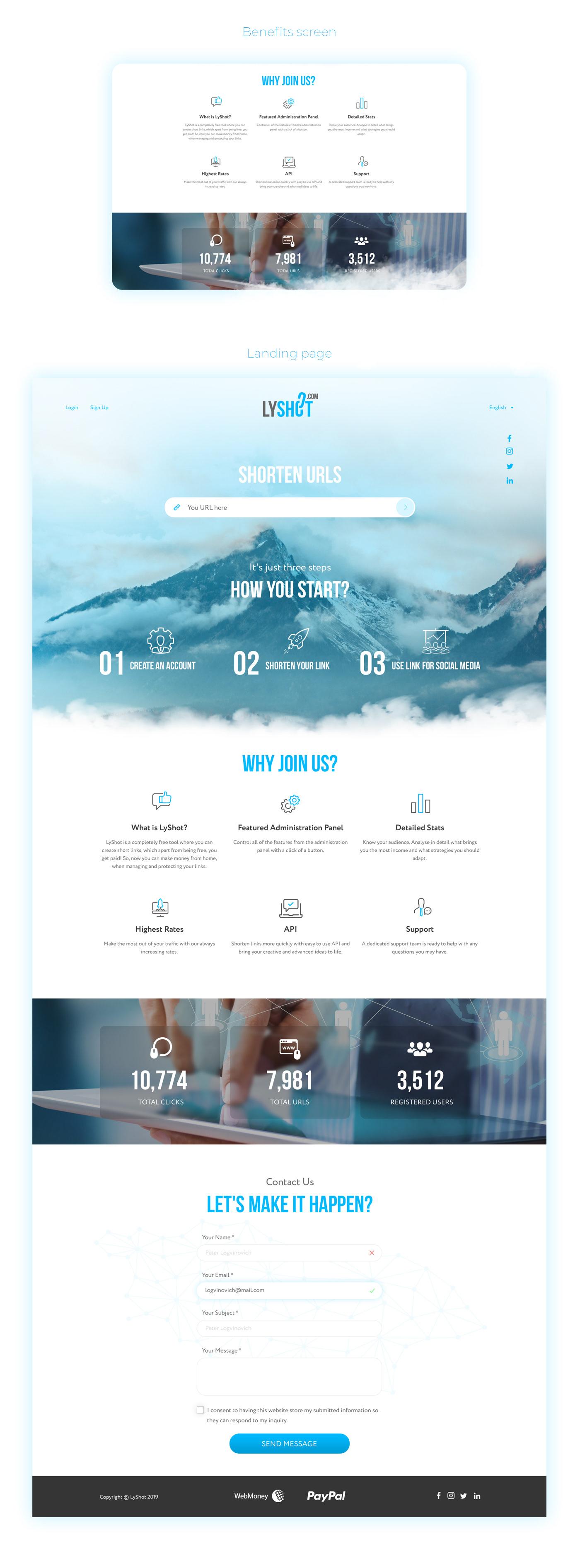 shorten url lyshot landing UI landin page Web Design  Промо сайт