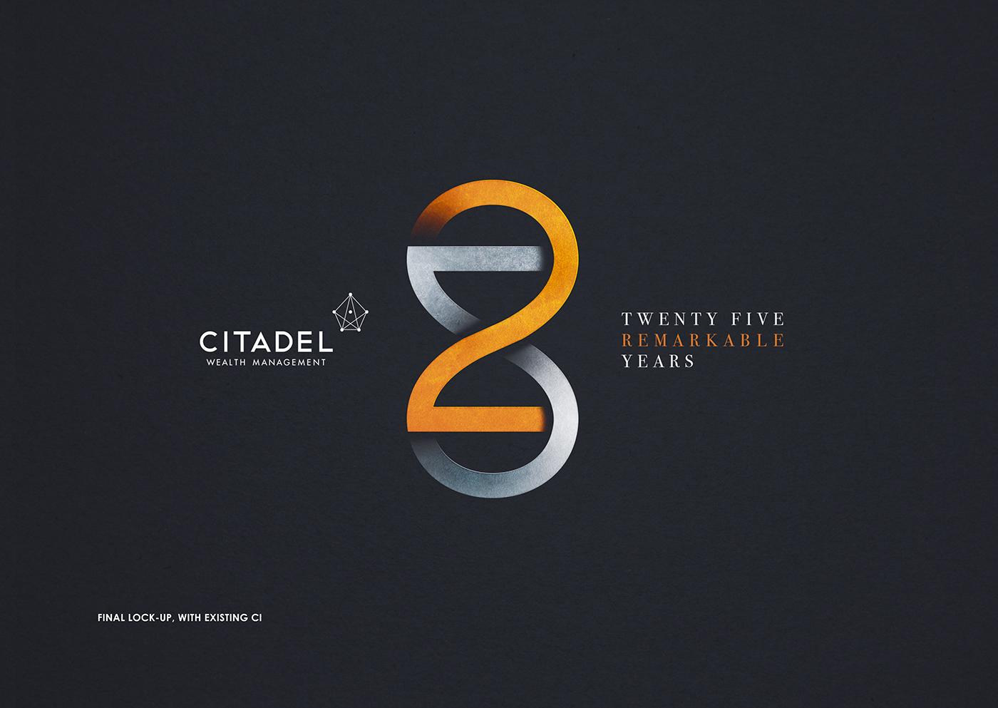 branding  art direction  Logo Design Citadel 25 years remarkable infinity clock hour glass