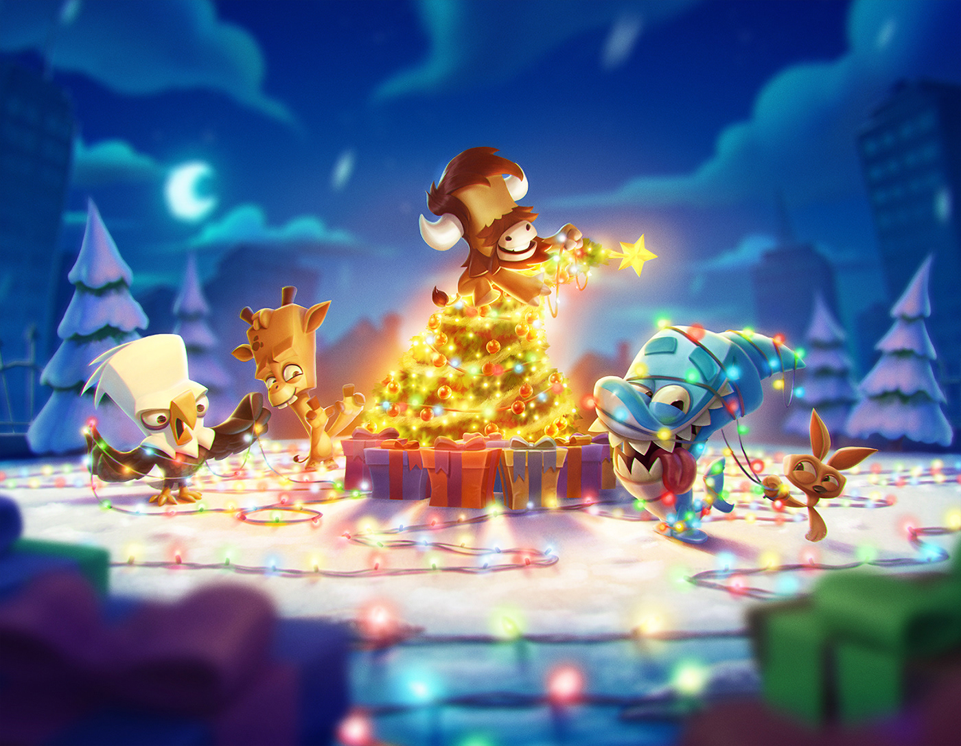 Image may contain: cartoon, screenshot and christmas tree