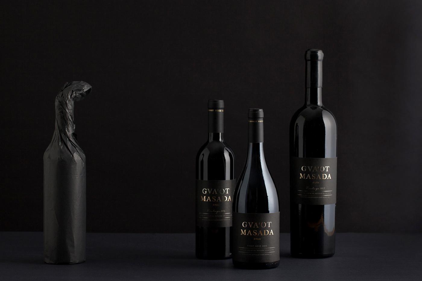 branding  Dov Kroll graphic design  Gun Metal Foil Israeli wine packaging design premium wine label Wine Packaging winery