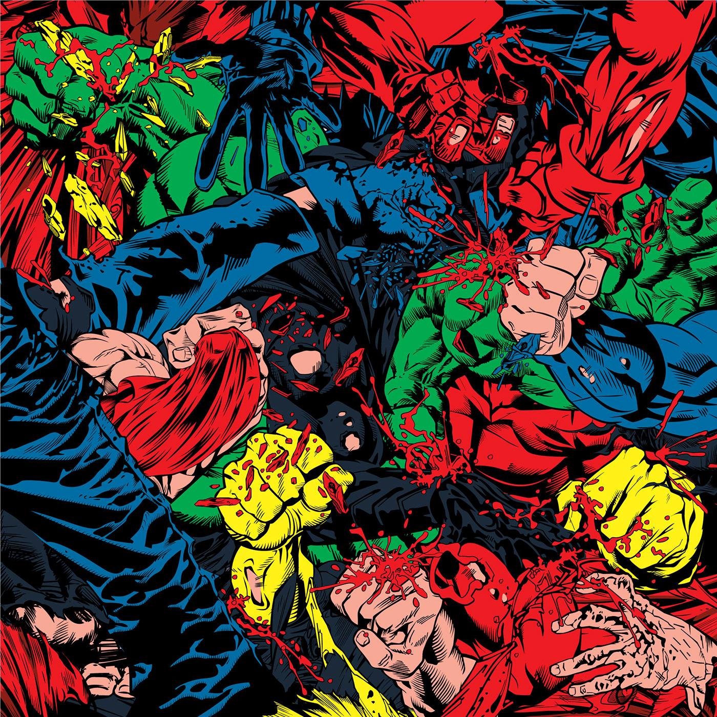 contemporary art marvel dc comics SuperHero typography   print FINEART