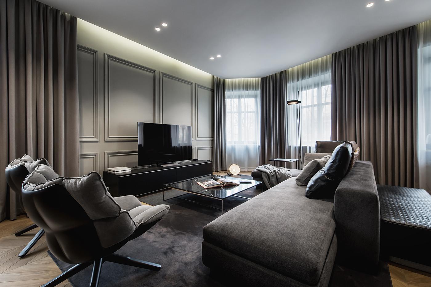 apartment Interior flat shurpenkov yodezeen design modern Style italian Minotti