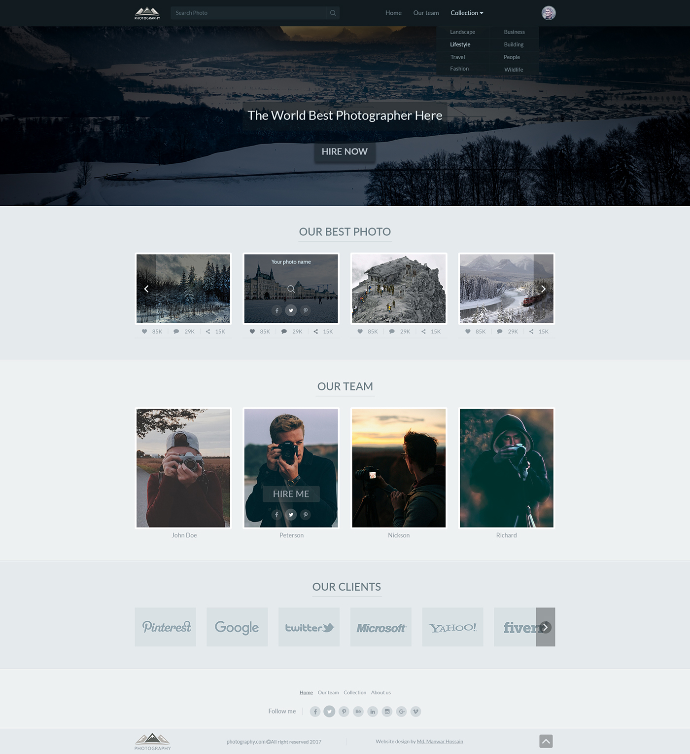 photography professional photographer web template on behance