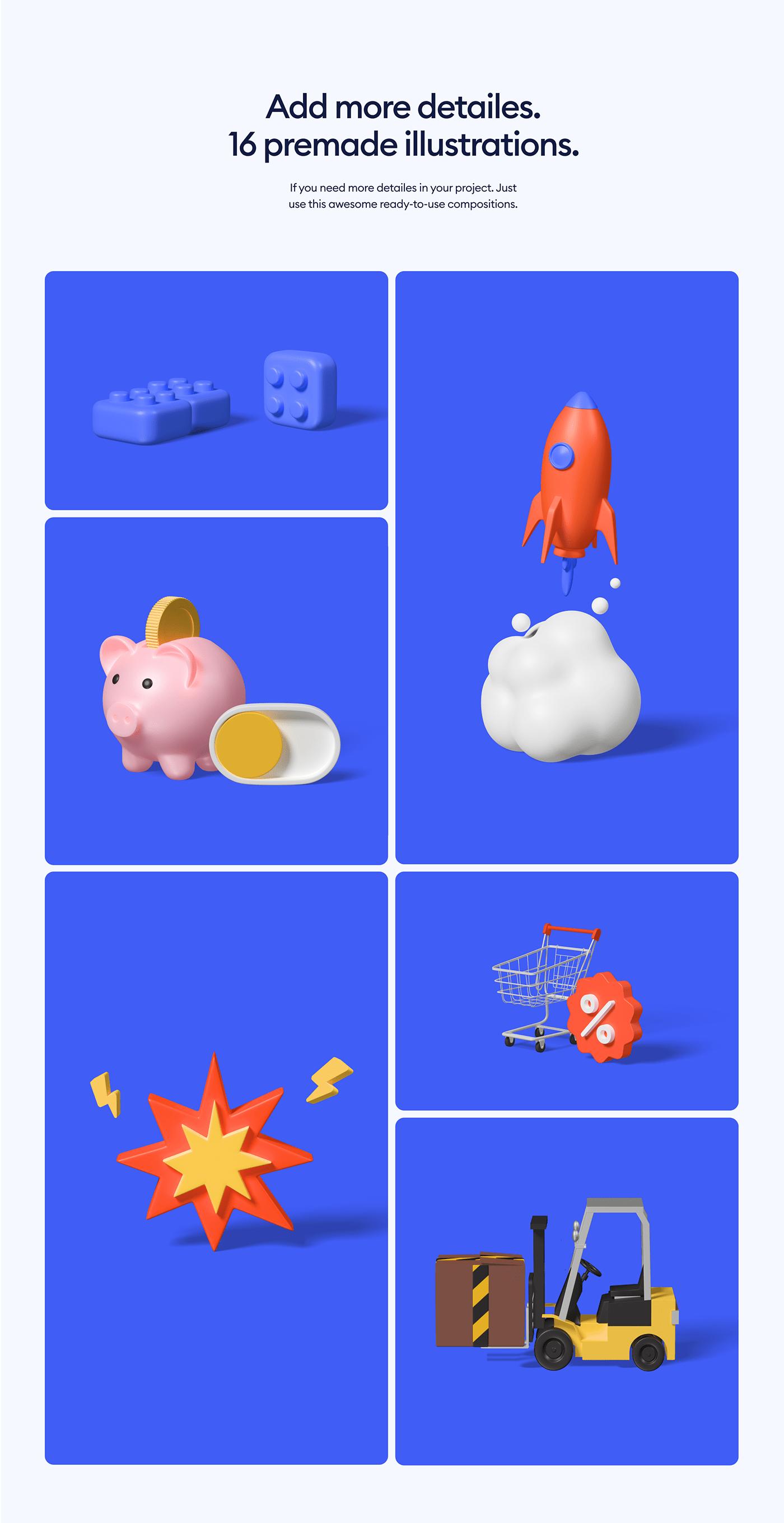 3D blender Figma ILLUSTRATION  UI
