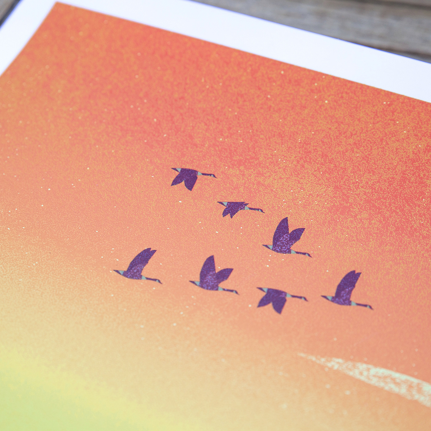 Hike sunset poster Goose Nature hills wildlife friends cliff