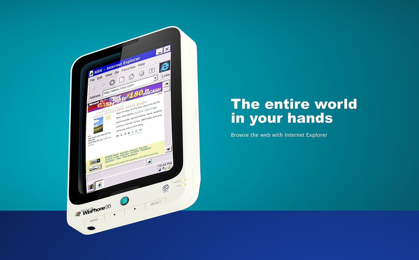 windows 95 windows phone windows Microsoft mobile UI 3D smartphone nostalgic Retro