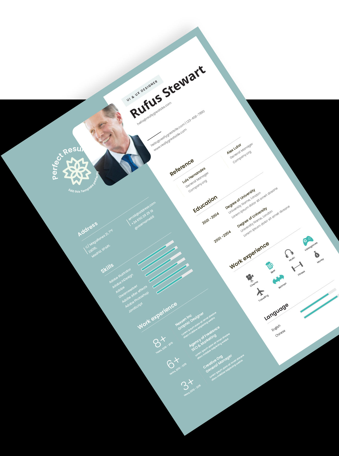 CV / RESUME infographic resume minimalist resume modern cv Modern Resume professional cv