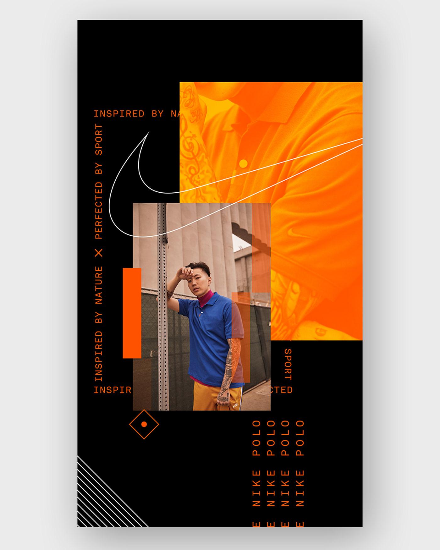 Nike instagram social media Stories snapchat Brutalism poster type design polo Fashion