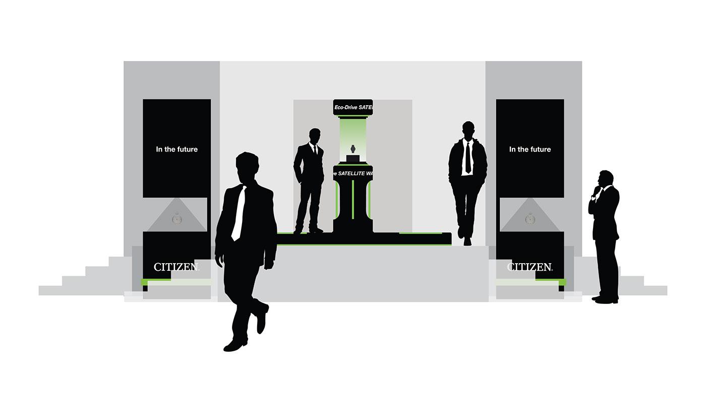 Appleseed XIII citizen eco drive satellite wave dubai mall Deunan Knute Exhibition Design  Event Design