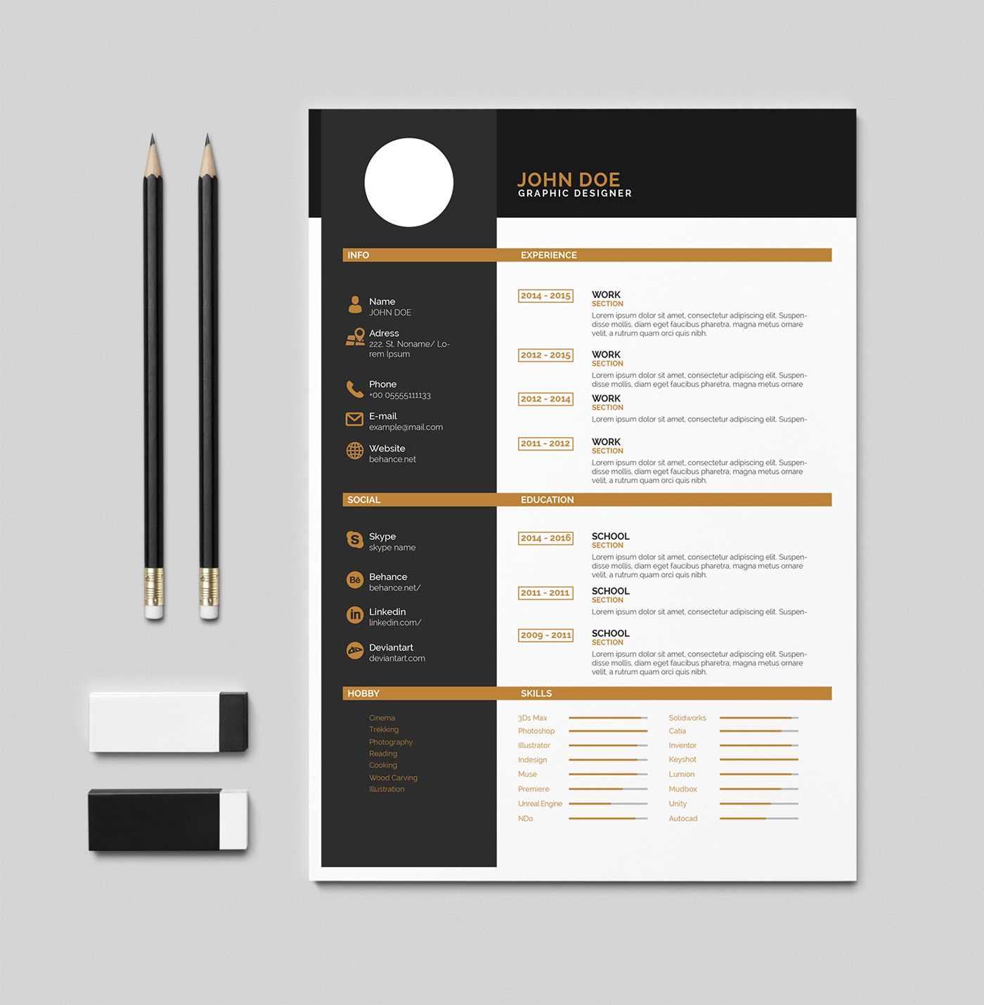 free cv  resume   u0130ndesign   pdf template on behance