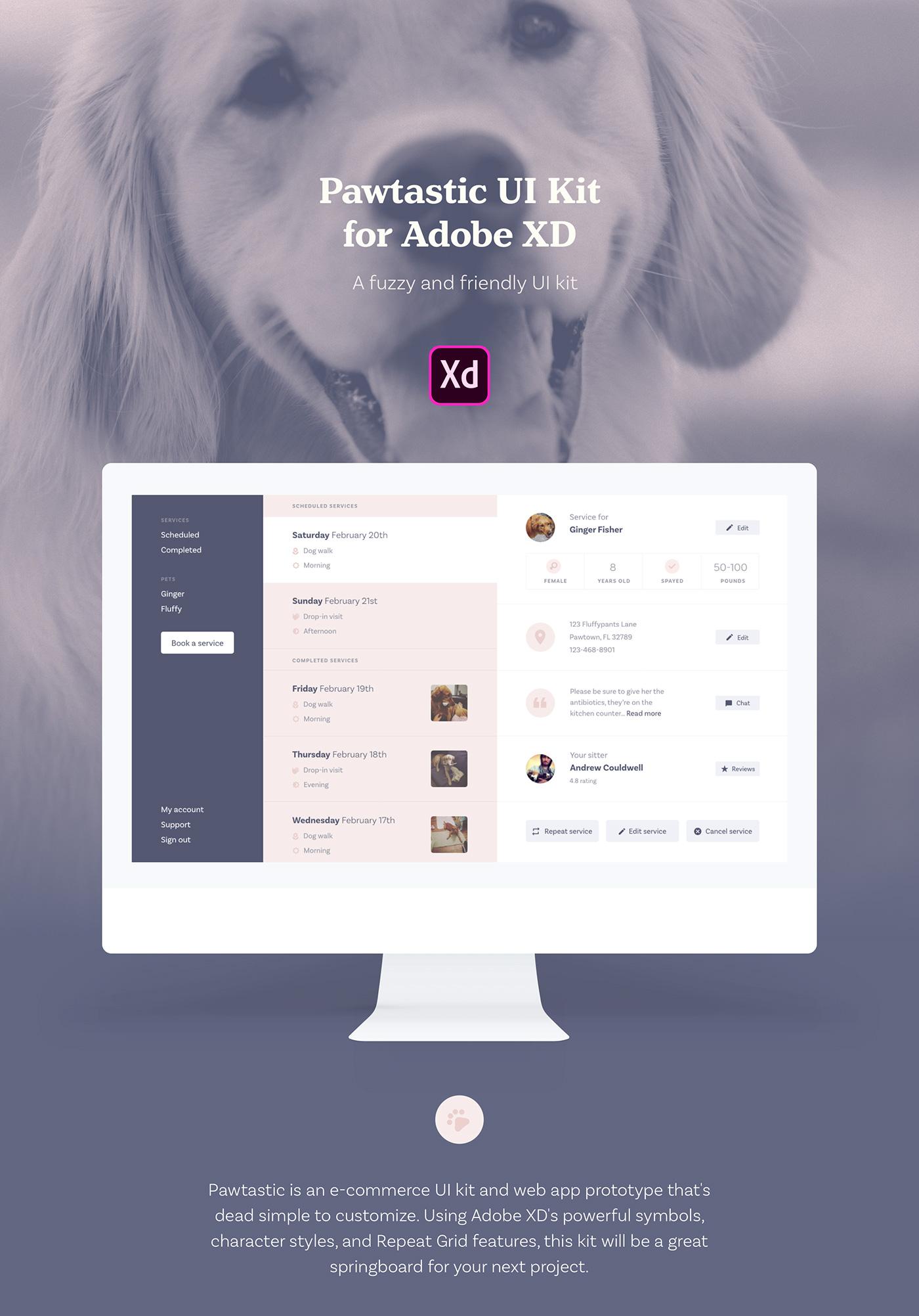 ui kit Adobe XD free download e-commerce product design  wireframes Marketing Design pets
