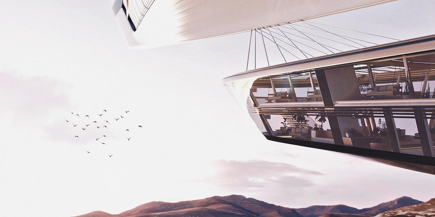 Aircraft airship aviation concept skyline visualisation blender industrial design  product design  Transportation Design