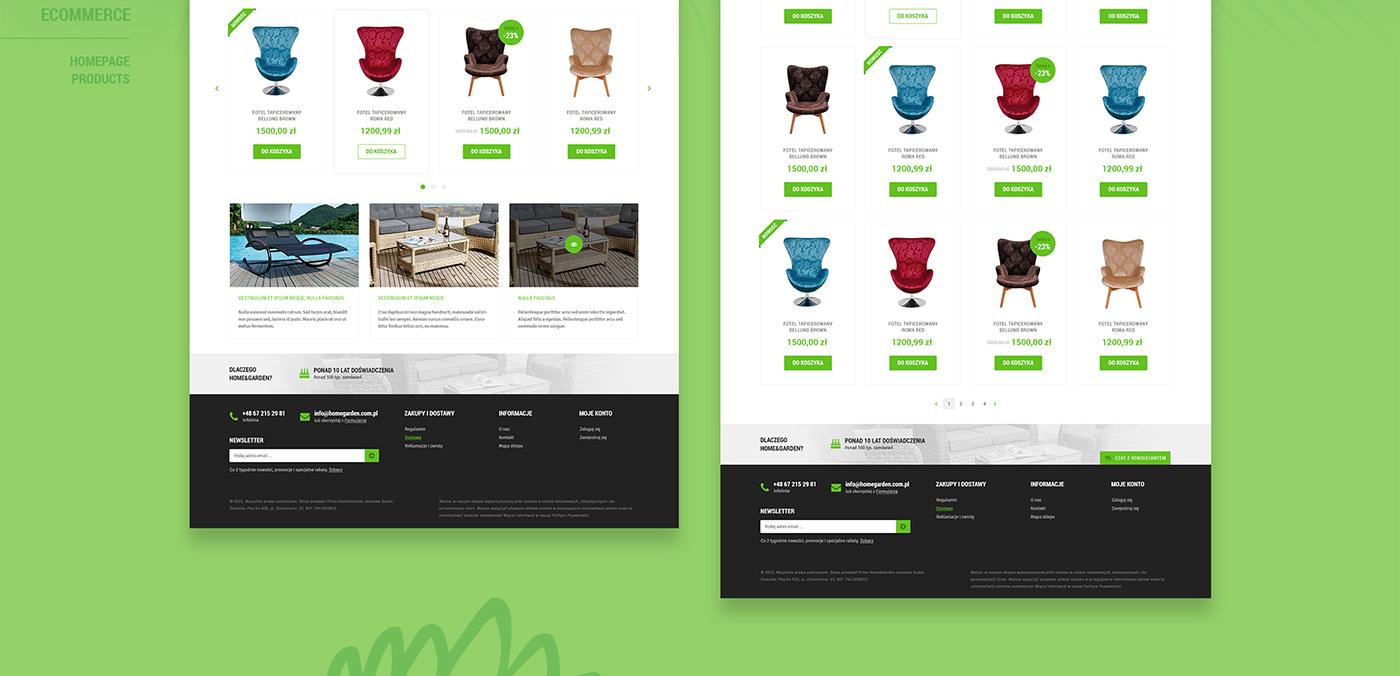 Ecommerce shop design furniture home garden Web chair sale cart