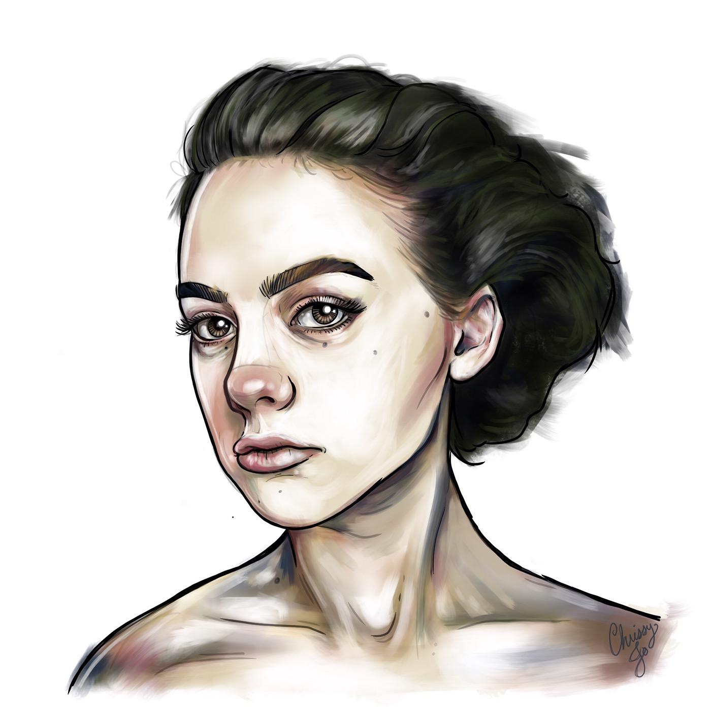 Procreate paint ILLUSTRATION  ink Drawing  line line drawing portrait portraits line portraits girl Spot Illustrations print