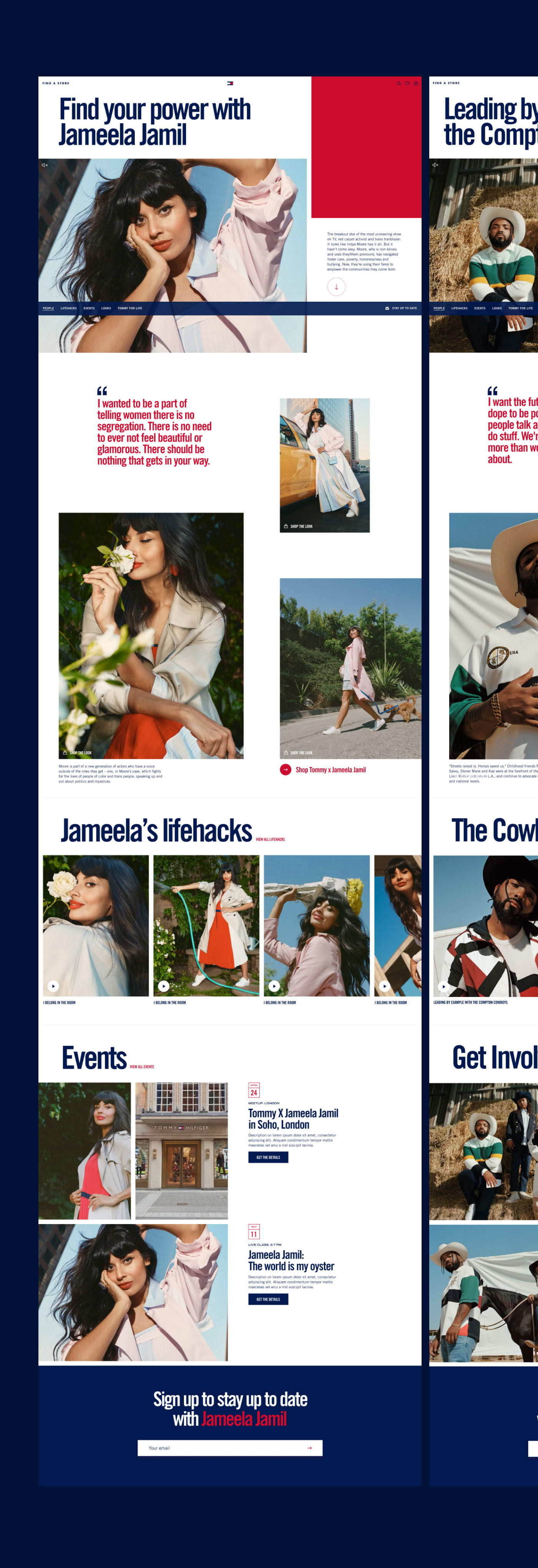 Design of an editorial page featuring Jameela Jamil and The Compton Cowboys