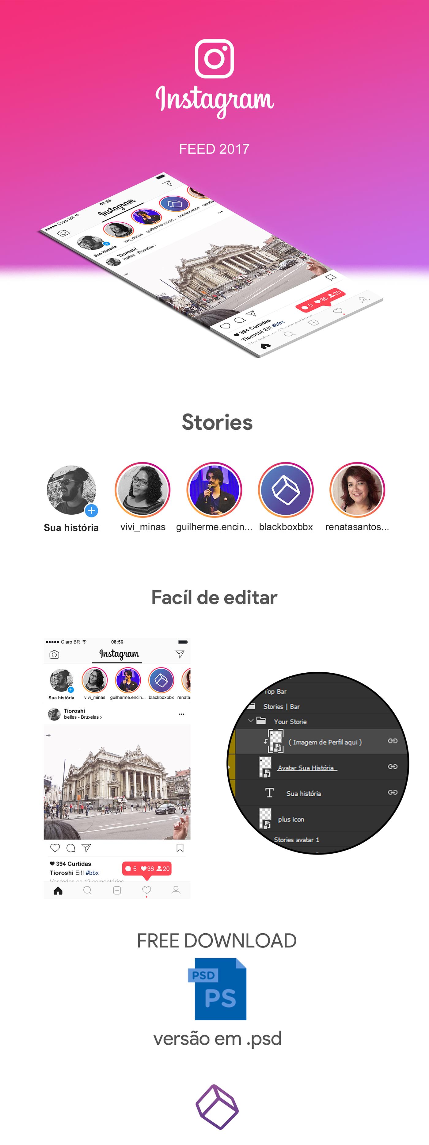 instagram photoshop feed Mockup ios download design