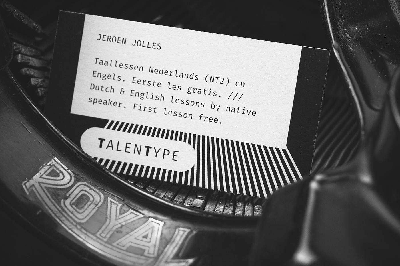 Business card on behance i used the visuals of the typewriters for inspiration the two sides of the business cards under each other give one image of a deconstructed typewriter reheart Choice Image