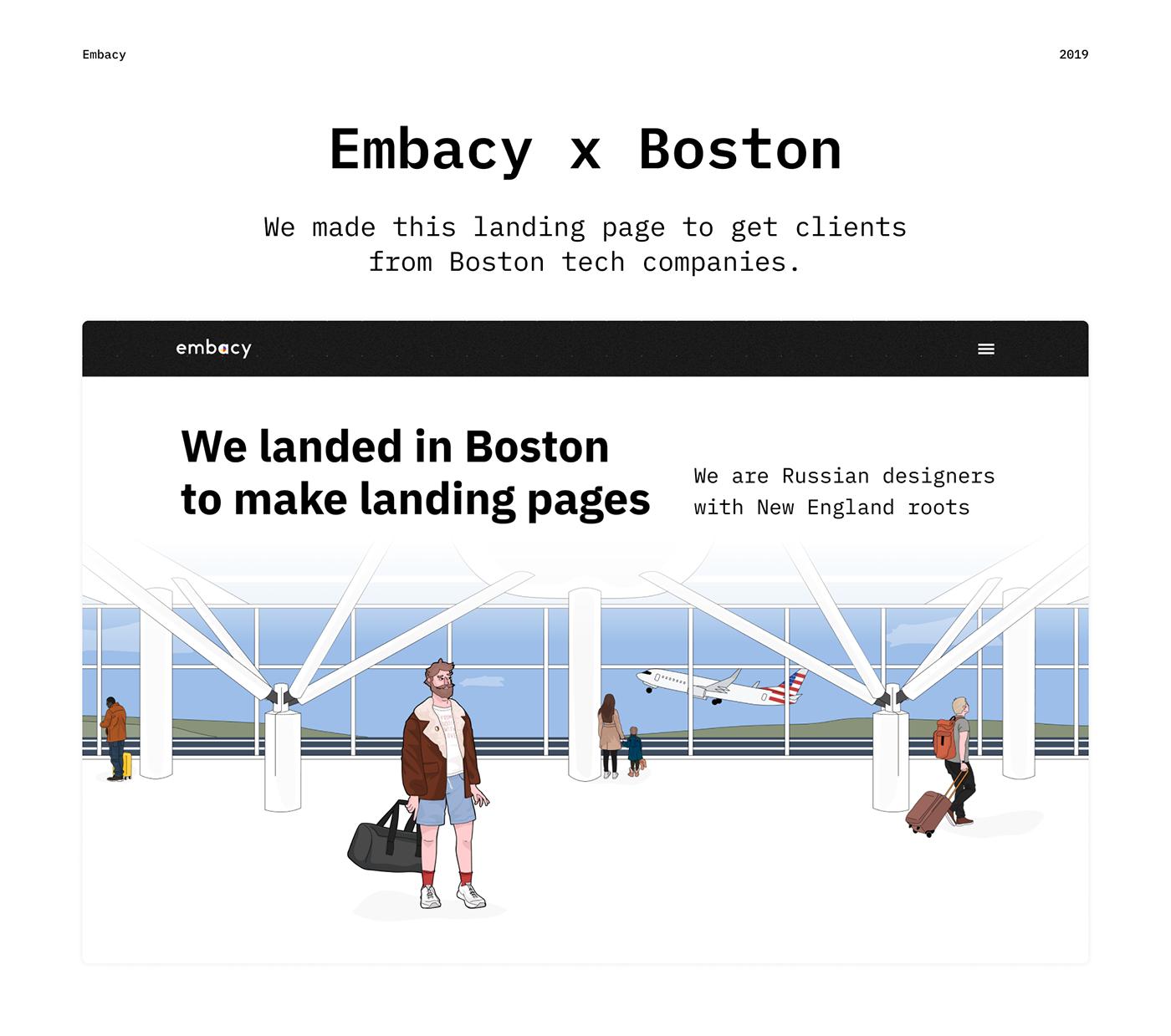 boston embacy ILLUSTRATION  IT Website Startup clean landing page Web Design