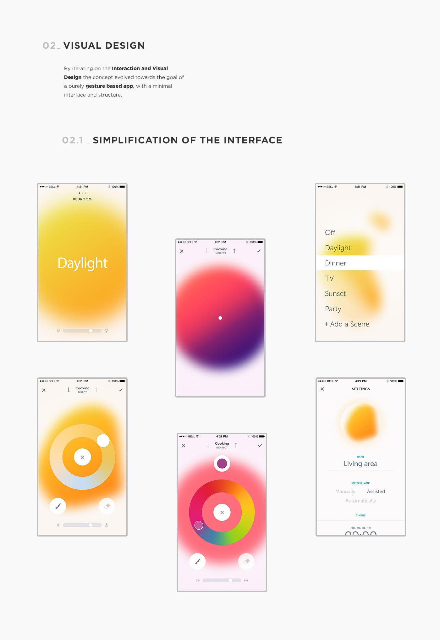 iOS App Interaction design  UI ux digital product visual design product design  light painting   gestures