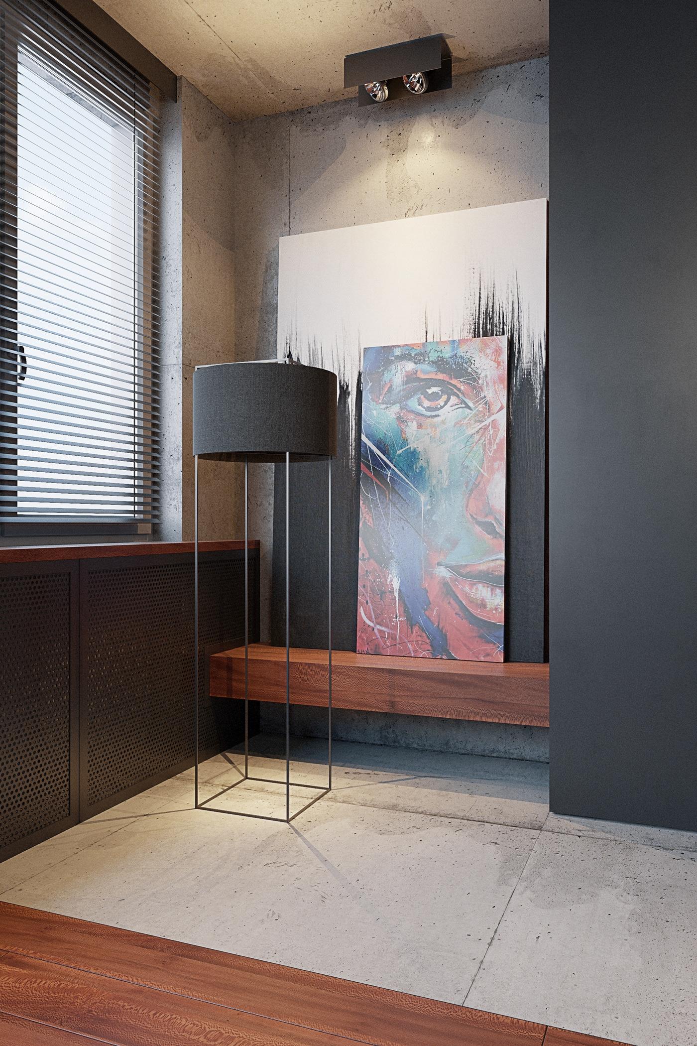 fireplace Jan Huber black concrete steel hearth