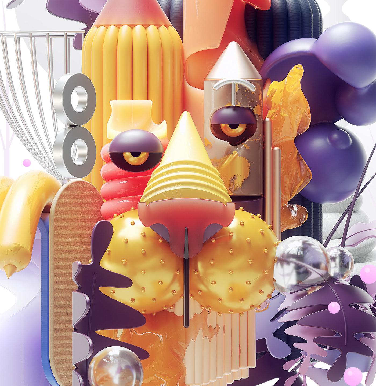 cinema4d 3D modern art design characters illustrations Picasso inspiration octane