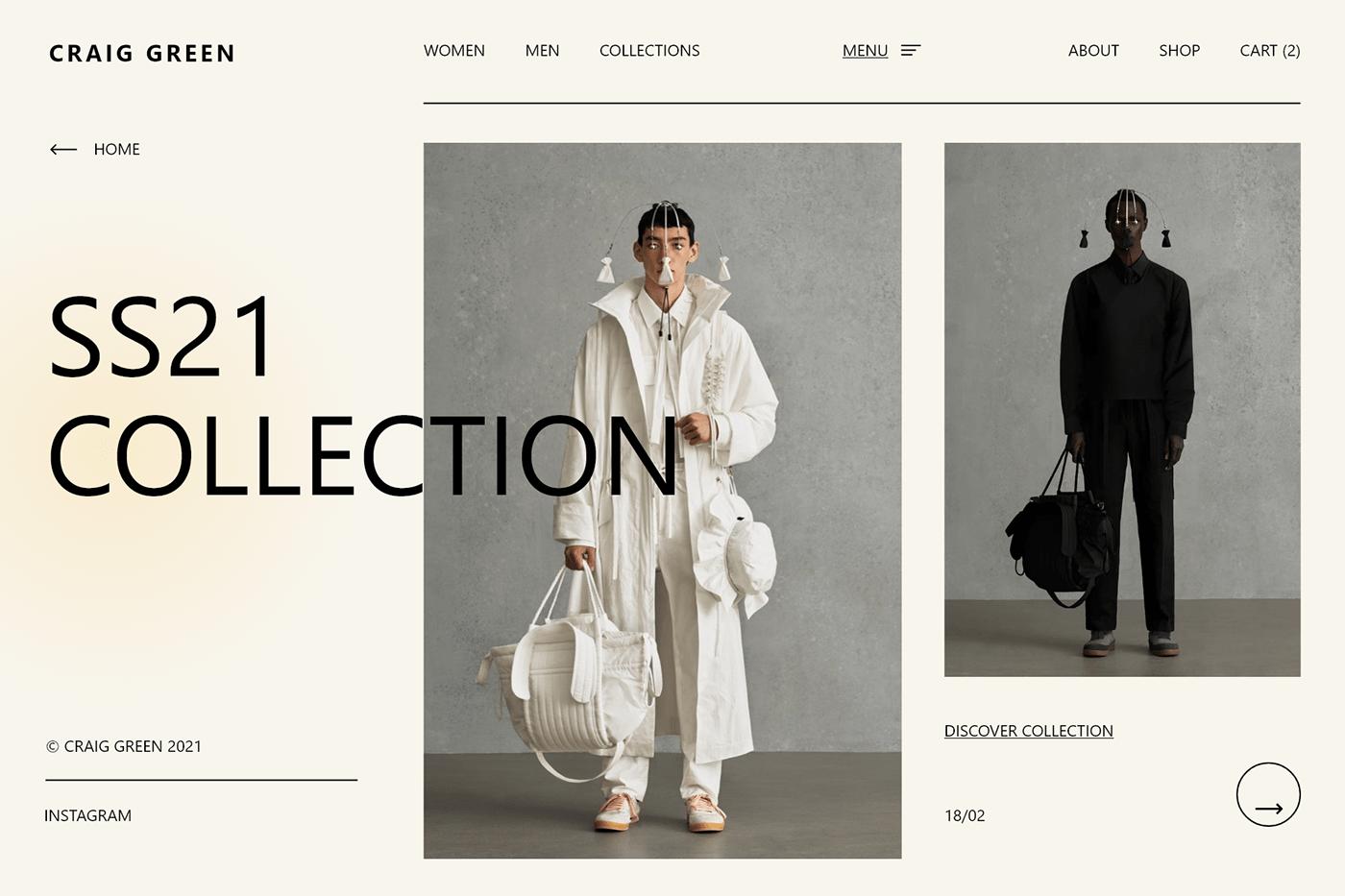 branding  craig Fashion  green UI Webdesign