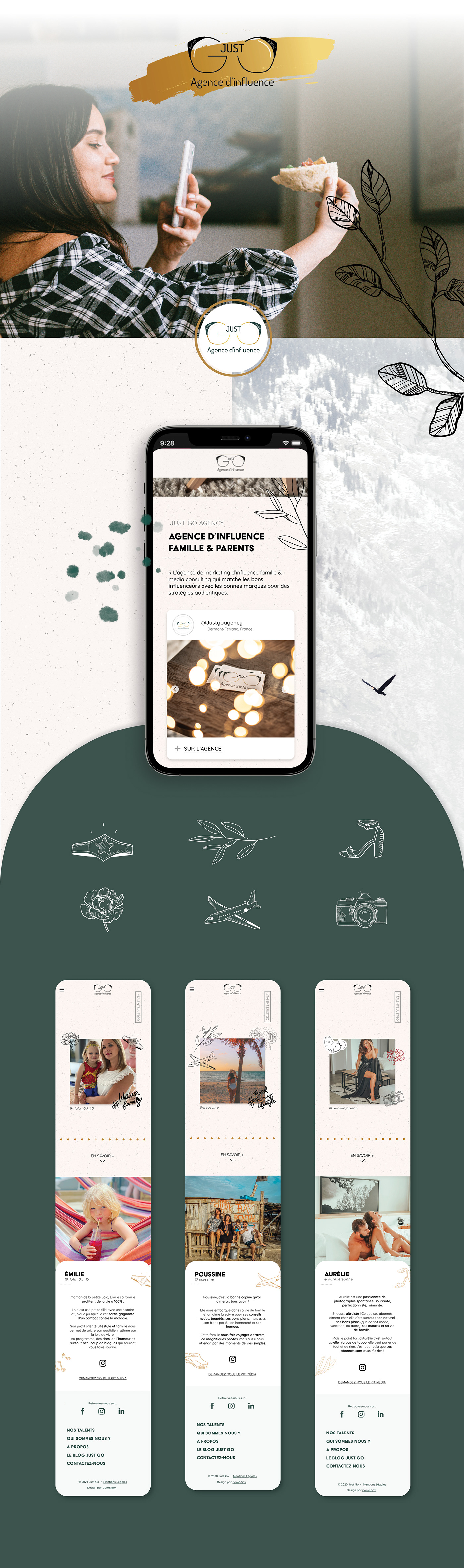 design web influenceur naturel site web UI ux