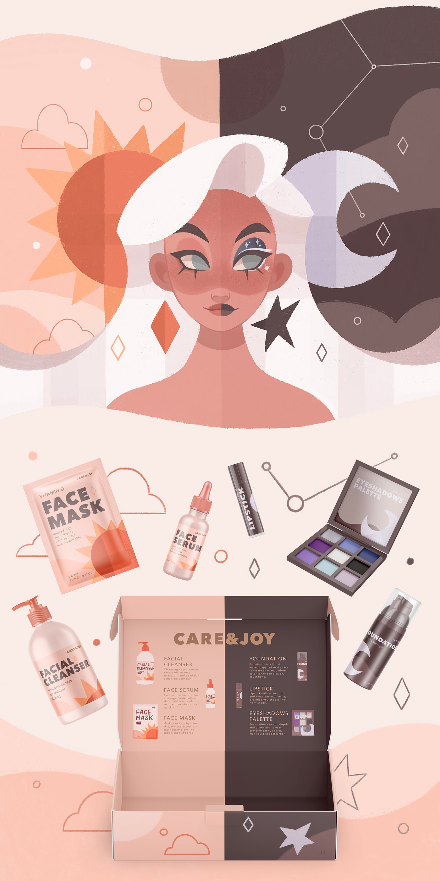 bag beauty box branding  Character design  cosmetics Packaging selfcare skincare stickers