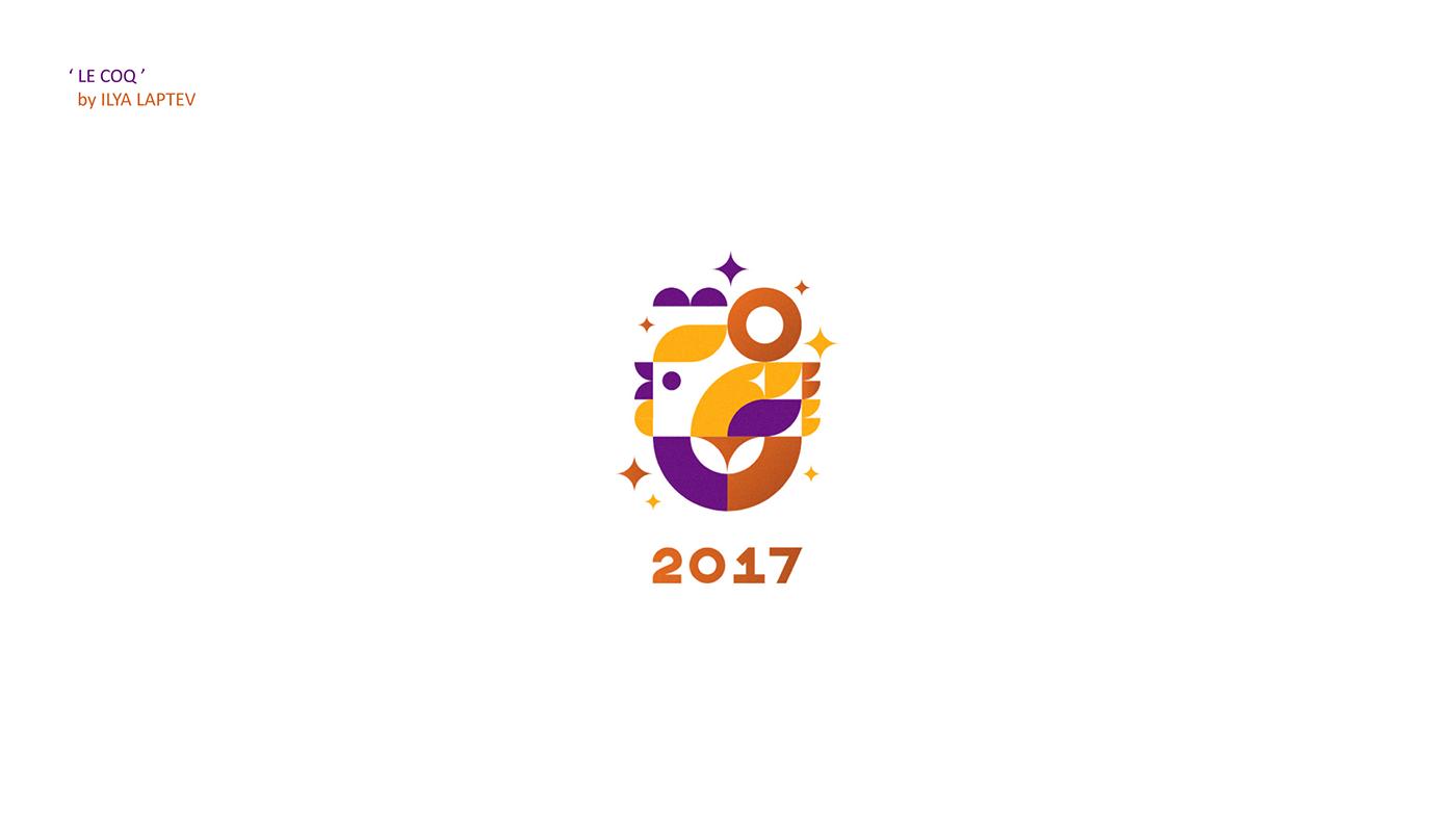 Rooster cock new year logo logotypes logoset