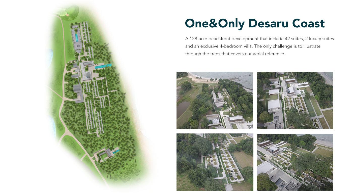 map design ILLUSTRATION  Coast Theme Park beach golf attractions drone
