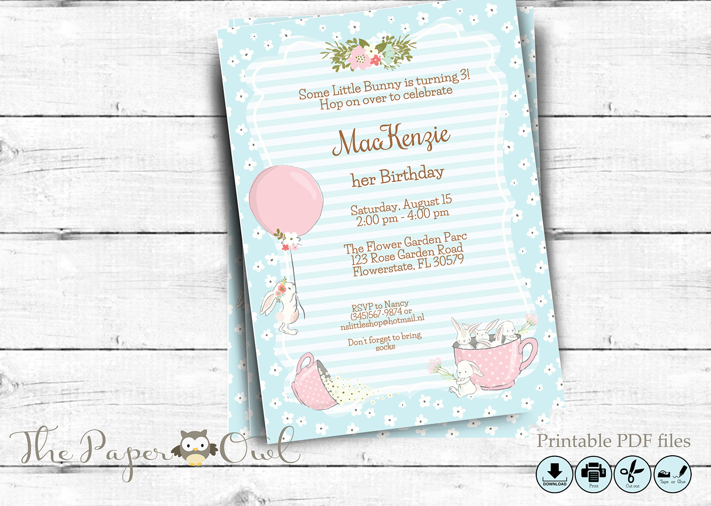 bunny birthday party invitation editable printable on behance