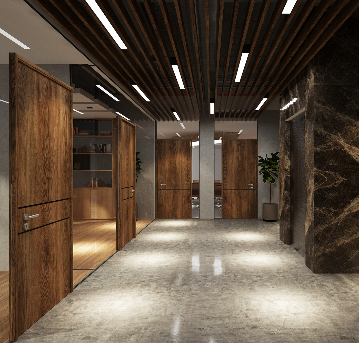 Modern Industrial Corridor & COO Room Into Office On Behance