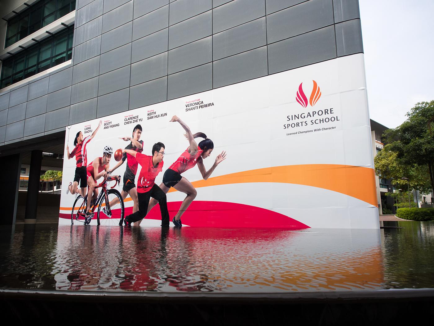 singapore Sports School athletes billboard Spatial Design environmental design