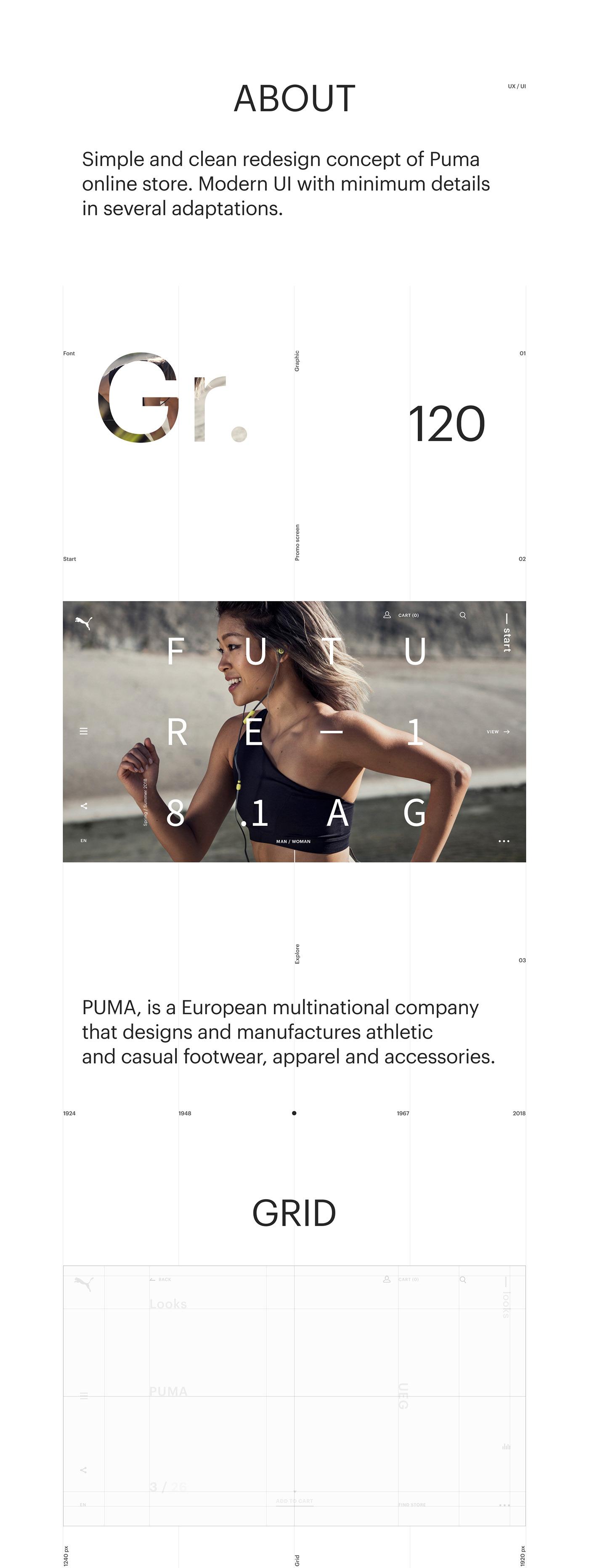 puma Fashion  minimal promo store mobile Web Website interaction animation